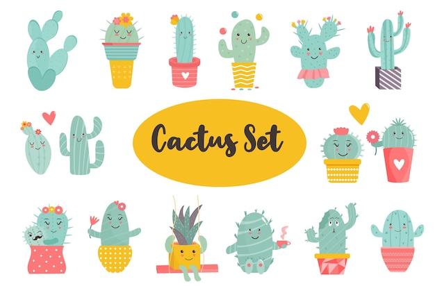 Grote reeks grappige cactussen karakters. verschillende poses en acties. vectorillustratie van kawaii vetplanten