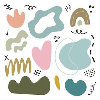 Grote reeks handgetekende kleurrijke vormen en doodle-objecten. vectorillustratie met geïsoleerde abstracte willekeurige ontwerpelementen.