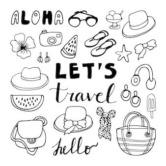 Grote reeks handgetekende zomerkrabbels met modeaccessoires en belettering reisillustraties