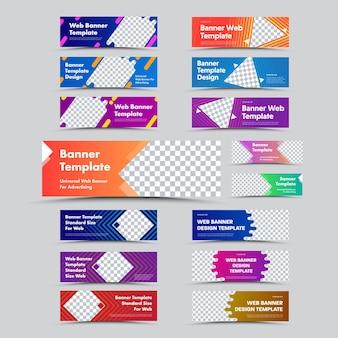 Grote reeks horizontale webbanners met verlopen, abstracte en geometrische vormen voor foto's. sjablonen van standaardformaat voor advertenties en bedrijven.