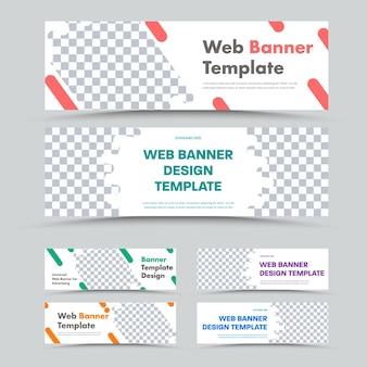 Grote reeks horizontale witte webbanners met abstracte ongelijke vormen voor foto's. sjablonen standaard formaat voor reclame.