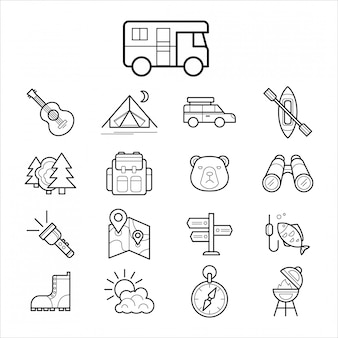 Grote reeks lineaire pictogram kamperen en toerisme
