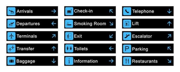 Grote reeks luchthavenborden en richtingsbanners