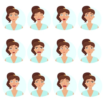 Grote reeks meisjesemoties dames gezichtsuitdrukkingen