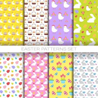 Grote reeks naadloze patronenpatronen van pasen met kleurrijke eieren, kip, konijnen, vakantiecollectie