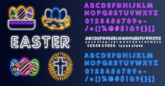 Grote reeks neon pasen-pictogrammen. gelukkig pasen. neonteken, banner op een bakstenen muurachtergrond, die u voor uw ontwerp kunt gebruiken