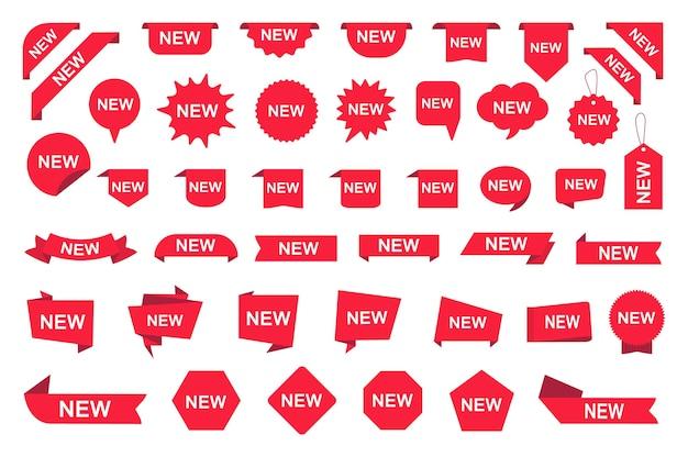Grote reeks nieuwe etiketten, rode markeringen, kentekens en lintbanners.