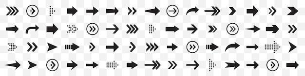 Grote reeks pijlen pictogram. zwarte pijlen collectie