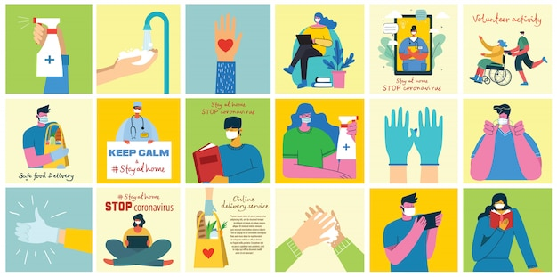 Grote reeks posters handen wassen, hygiëne, doktoren, handen in handschoenen, thuisblijven en gezondheidszorg. beschermen tegen virus conceptontwerp. vectorillustraties in vlakke stijl.