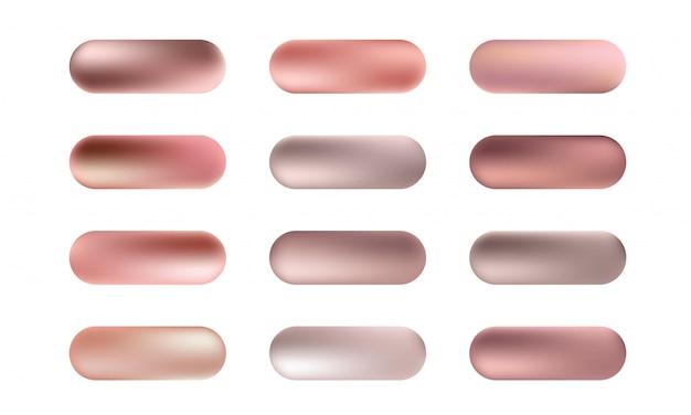 Grote reeks rose goud folie textuur knoppen. roze gouden elegante, glanzende en metallic gradiëntcollectie