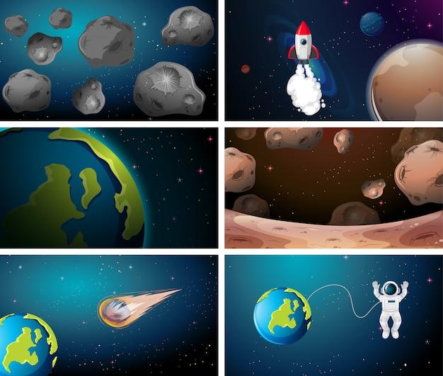 Grote reeks ruimteachtergronden