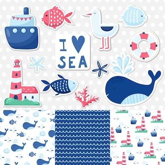 Grote reeks schattige mariene elementen voor kaarten en stickers. zee cartoon patronen. voor jubileum, verjaardag, feestuitnodigingen, scrapbooking, t-shirt, kaarten. vector illustratie