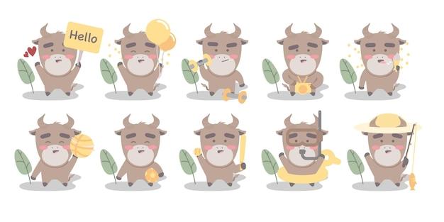 Grote reeks schattige stier karakter met verschillende activiteiten