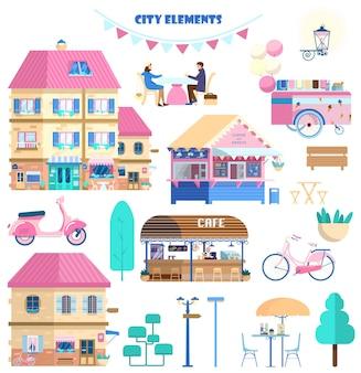 Grote reeks stadselementen in platte cartoonstijl.