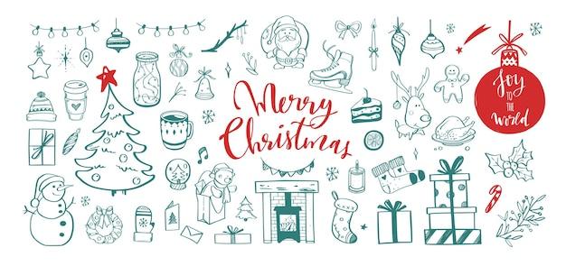 Grote reeks van doodle ontwerpelementen van kerstmis