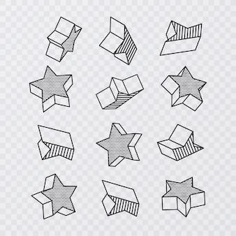Grote reeks van geometrische vectorvormen. trendy grafische elementen met vorm als sterren, vectorillustratie