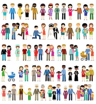 Grote reeks van gezinsleven in stijl plat ontwerp