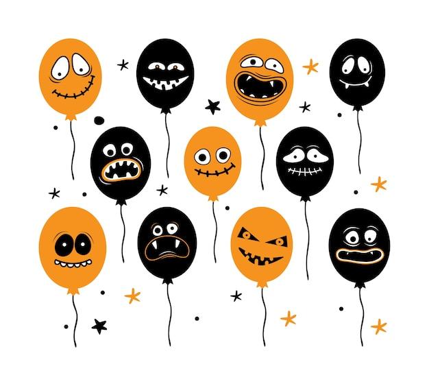 Grote reeks van halloween-ballons die op witte achtergrond wordt geïsoleerd. gezichten van griezelige monsters met tanden, kaken en monden. enge luchtballon. vector platte illustratie