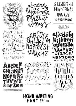 Grote reeks van handgeschreven letters over ontwerpkalligrafie