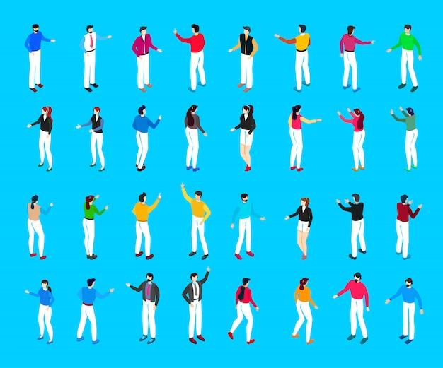 Grote reeks van isometrische jonge mensen. ontwerp met platte karakters