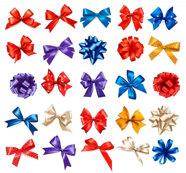 Grote reeks van kleurrijke geschenk bogen met linten. .