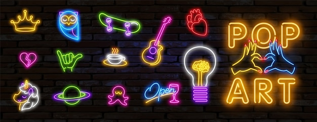Grote reeks van pop-art neonlichtteken heldere uithangbord lichte banner