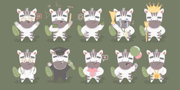 Grote reeks van schattig zebra karakter met verschillende activiteiten
