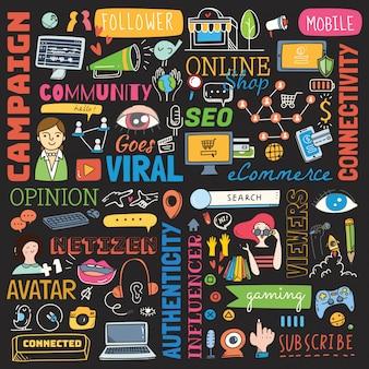 Grote reeks van sociale media achtergrondkrabbel