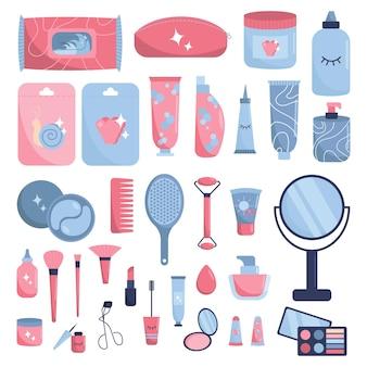 Grote reeks van verschillende cosmetica geïsoleerd op een witte achtergrond