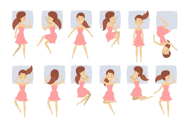 Grote reeks vrouwenslaap in verschillende positie. vrouwelijke personage in het bed op kussen. nacht droom. rusten in de slaapkamer. illustratie
