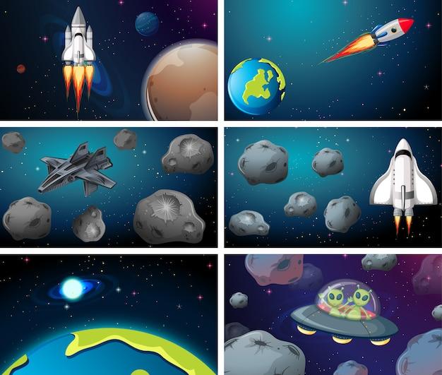 Grote ruimtescène ingesteld