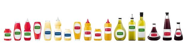 Grote saus in flessen set. soja, olijfolie, mosterd, ketchup en mayonaise sauzen. kruiderijelementen voor voedselontwerp.