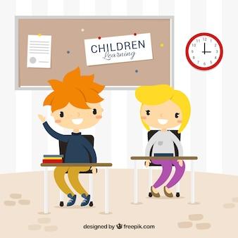 Grote scène van gelukkige studenten in de klas