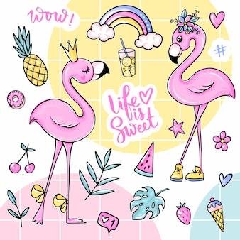 Grote schattige zomerstickers set met flamingo's, ijs, watermeloen, ananas, regenboog, limonade, kers.