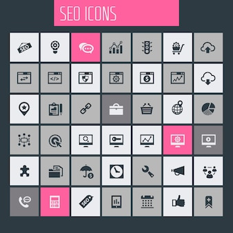 Grote seo icon set, trendy plat pictogrammen collectie