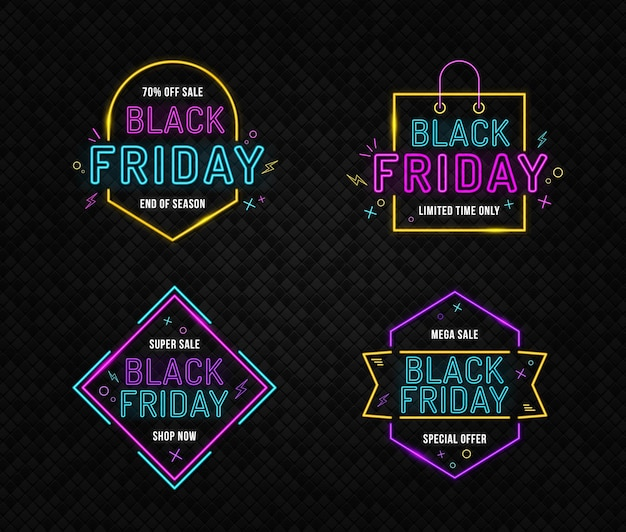 Grote set black friday-neonborden nacht heldere advertentie