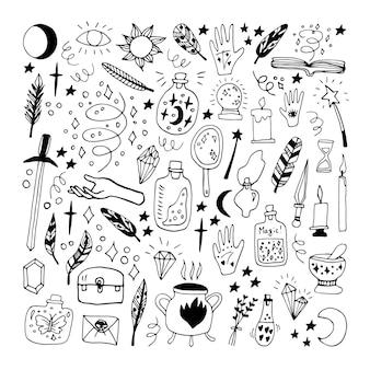 Grote set doodle vectorelementen over esotericus. handgetekende potten, veren, handen, ketel, zon, maan, kaarsen, sterren en andere magische symbolen. geïsoleerd op een witte achtergrond.