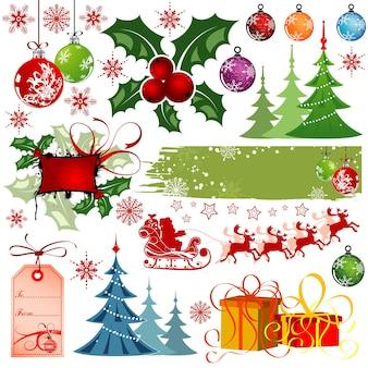 Grote set elementen voor kerstontwerp, vectorillustratie