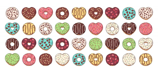 Grote set geglazuurde donuts versierd met toppings, chocolade, noten.