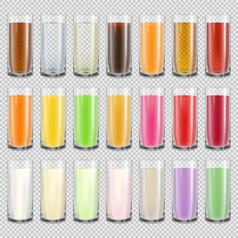 Grote set glazen met verschillende dranken. realistische melk, water, sap en cola in doorschijnende bekers geïsoleerd op transparante achtergrond. milkshake drankje