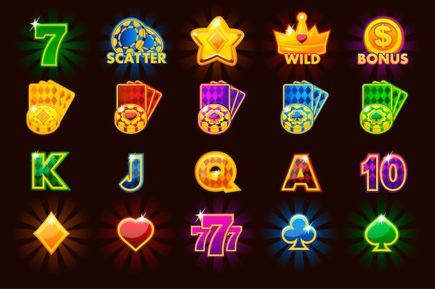 Grote set gokkenpictogrammen van kaartsymbolen voor gokautomaten en een loterij of casino in verschillende kleuren. game casino, slot, gebruikersinterface