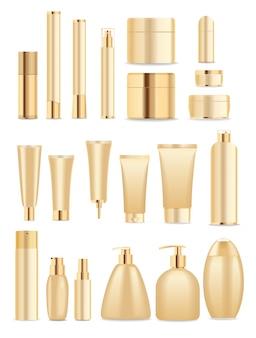 Grote set gouden cosmetische containers