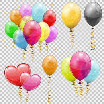 Grote set heliumballonnen, gouden streamer gedraaide linten. verjaardagsfeestje carnaval valentijnsdag kerstdecoratie met transparante ballon. geïsoleerde vectorillustratie op transparante background