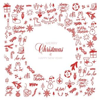 Grote set kerstontwerpelementen in doodle-stijl