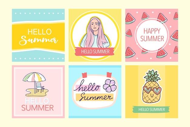 Grote set kleurrijke zomerbanner voor posts op sociale media voor kinderen kids