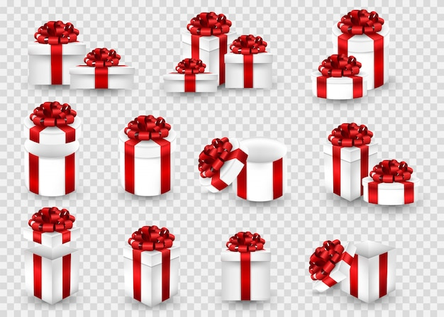 Grote set met geschenkdoosjes op een transparant scherm. geschenkdozen van verschillende vormen verpakt in een rood lint en met een strik bovenop.