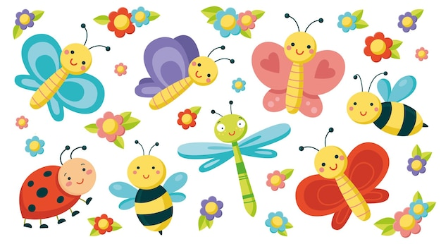 Grote set met schattige insecten. kleurrijke vectorillustratie in vlakke stijl. vlinders, libel, bijen, lieveheersbeestje en kleine bloemen geïsoleerd op een witte achtergrond. glimlachende karakters voor kinderachtig ontwerp.