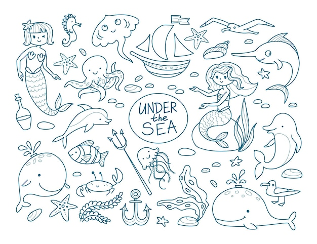 Grote set met schattige zeemeerminnen en bewoners van de zeebodem. dolfijn, walvis, zeester, zeepaardje, zeewier, anemoonvis, kwal, krab. vectorillustratie in lineaire stijl.