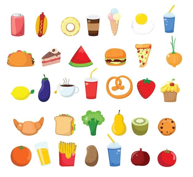 Grote set pictogrammen eten, vlakke stijl. fruit, groenten, vlees, brood, fastfood, snoep. maaltijd pictogram geïsoleerd op een witte achtergrond. ingrediënten collectie