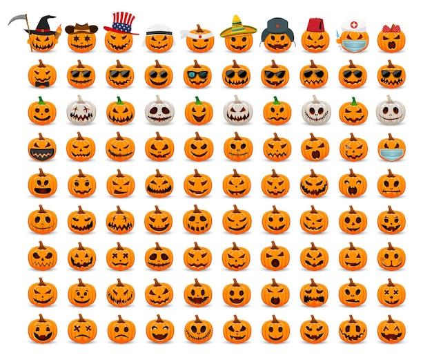 Grote set pompoenen cartoon oranje en witte pompoen met glimlach voor de vakantie happy halloween